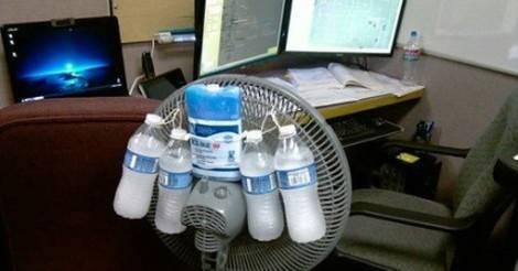 ventilador con hielo